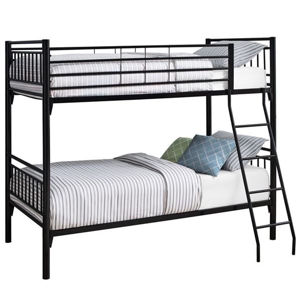 Monarch Specialties Black Metal Twin Over Twin Bunk Bed MNC-I-2234B