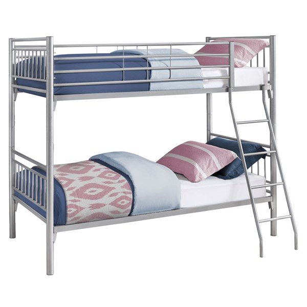 Monarch Specialties Silver Metal Twin Over Twin Bunk Bed MNC-I-2234S