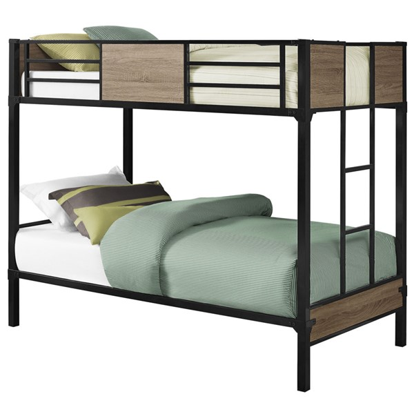 Monarch Specialties Taupe Metal Twin Over Twin Bunk Beds MNC-I-2237-BB-VAR
