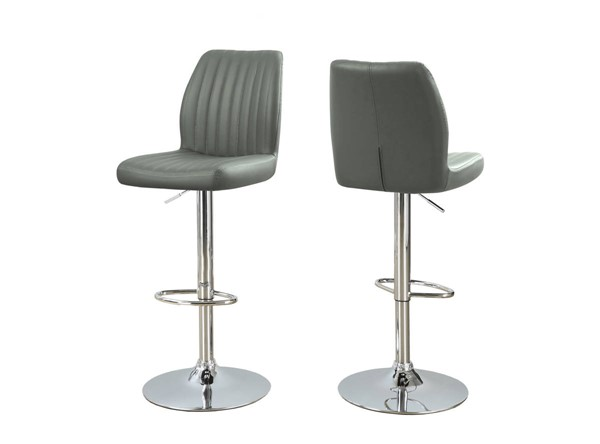 2 Monarch Specialties Grey Leather Metal Barstools MNC-I-2372