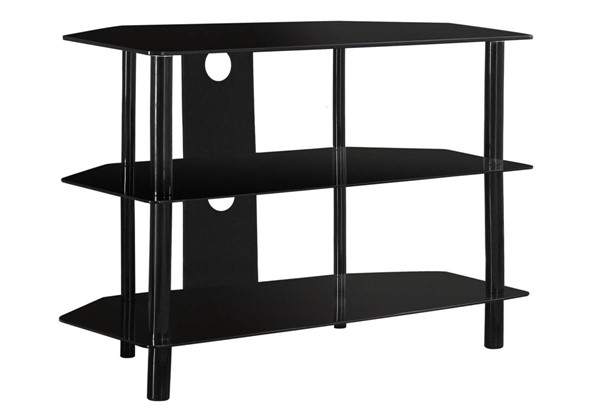 Monarch Specialties Black Glass TV Stand MNC-I-2506