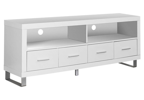 Monarch Specialties White 4 Drawers TV Stand MNC-I-2518