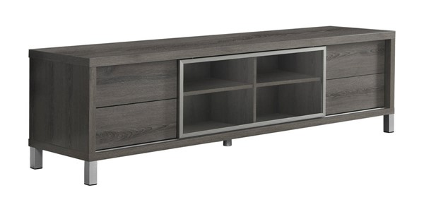 Monarch Specialties Taupe Clear Silver TV Stands MNC-I-2536-TS-VAR