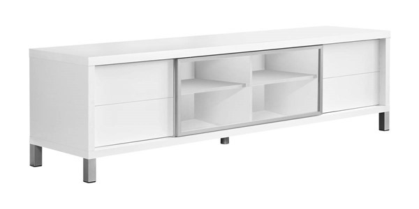Monarch Specialties White Clear Silver TV Stand MNC-I-2537