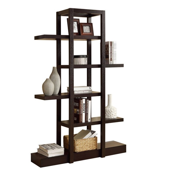 Monarch Specialties Cappuccino 71 Inch Bookcase MNC-I-2541