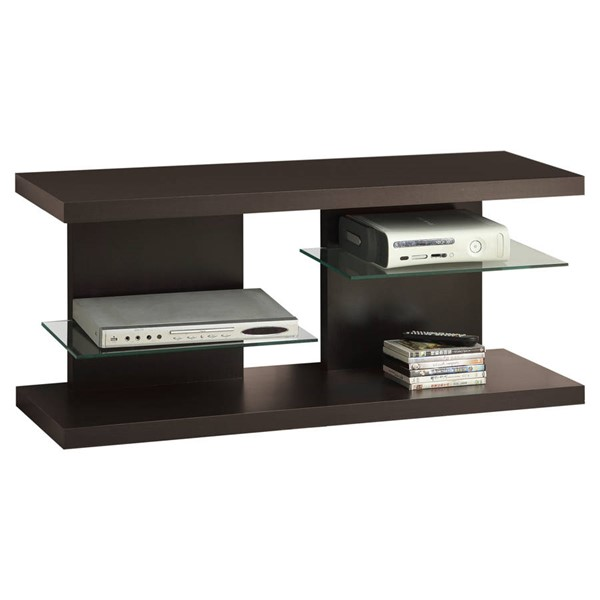 Monarch Specialties Cappuccino Wood Glass TV Stand MNC-I-2555