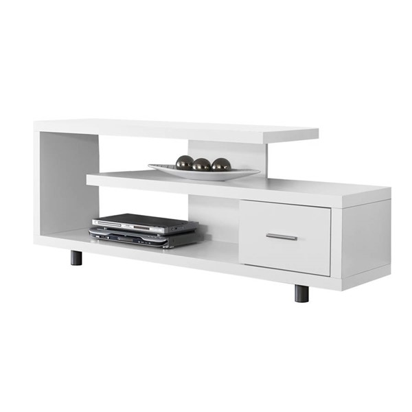 Monarch Specialties White MDF 60 Inch TV Stand MNC-I-2573
