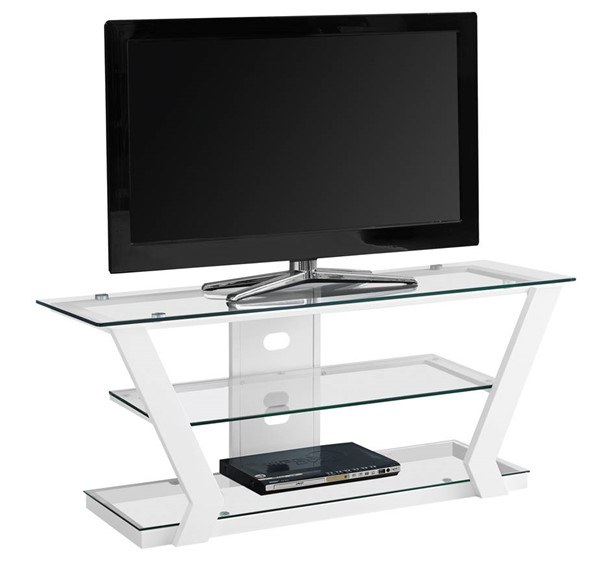 Monarch Specialties White Glass Metal Storage TV Stand MNC-I-2589