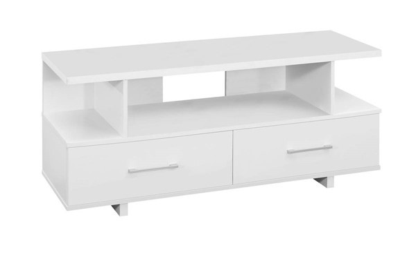 Monarch Specialties White Storage Drawers TV Stand MNC-I-2605