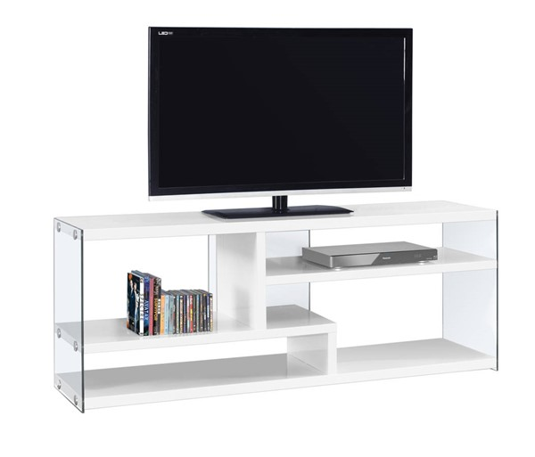 Monarch Specialties White Clear Glass TV Stand MNC-I-2690