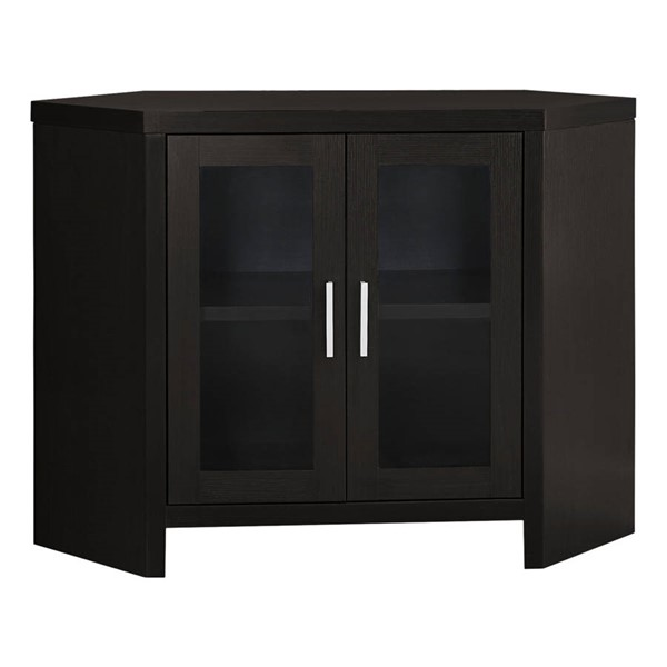 Monarch Specialties Cappuccino Laminate MDF Glass TV Stand MNC-I-2700