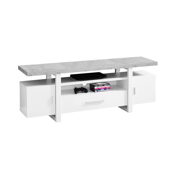 Monarch Specialties White Grey MDF TV Stand MNC-I-2725