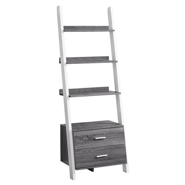 Monarch Specialties Grey White MDF Tall Bookcase MNC-I-2756