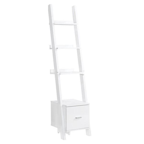 Monarch Specialties White 69 Inch Drawer Bookcase MNC-I-2767