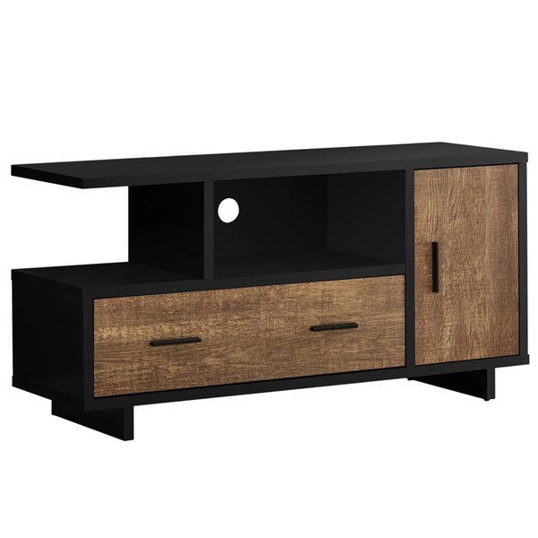 Monarch Specialties Black Brown 48 Inch Reclaimed Wood Look TV Stand MNC-I-2803