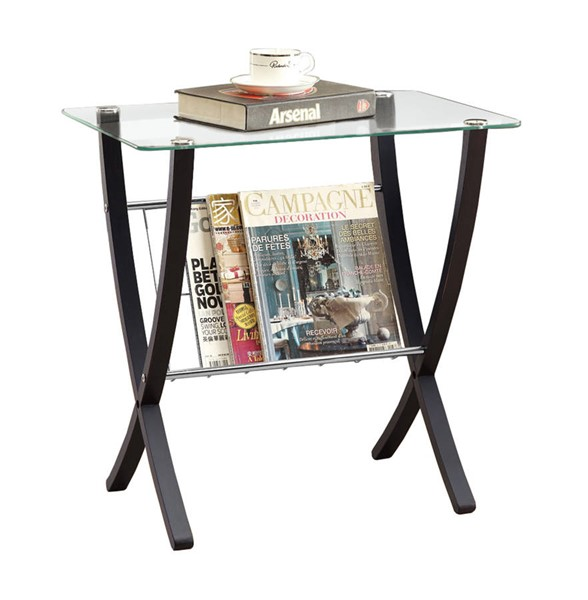 Monarch Specialties Cappuccino Clear Accent End Table MNC-I-3021