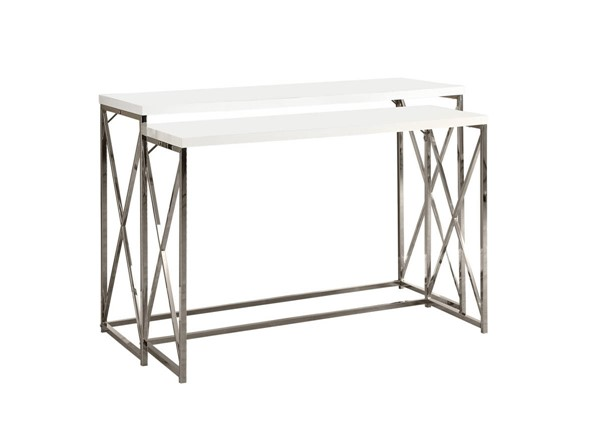 Monarch Specialties White Wood Metal 2pc Sofa Table MNC-I-3027