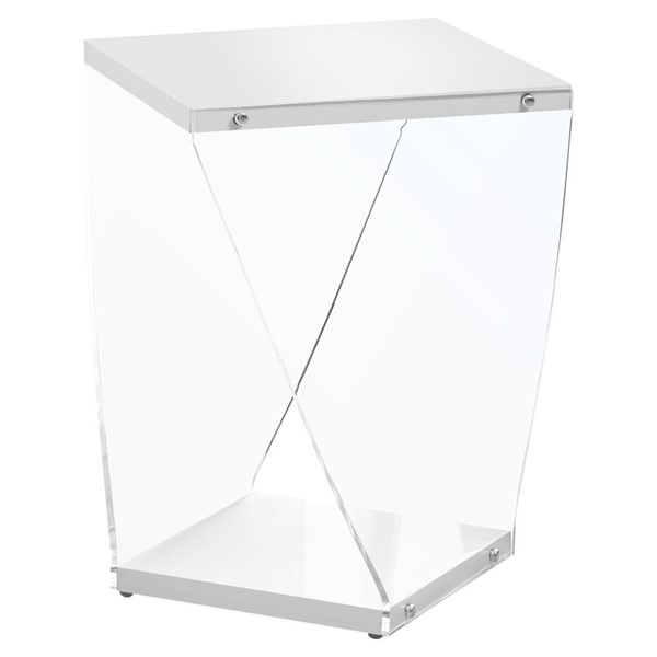 Monarch Specialties White Clear End Table MNC-I-3033