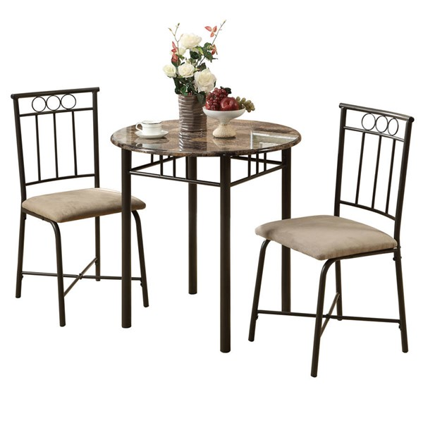 Monarch Specialties Cappuccino Beige Brown 3pc Dining Sets MNC-I-3045-DR-S-VAR