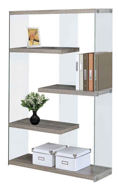 Monarch Specialties Taupe Clear Glass Bookcase MNC-I-3052