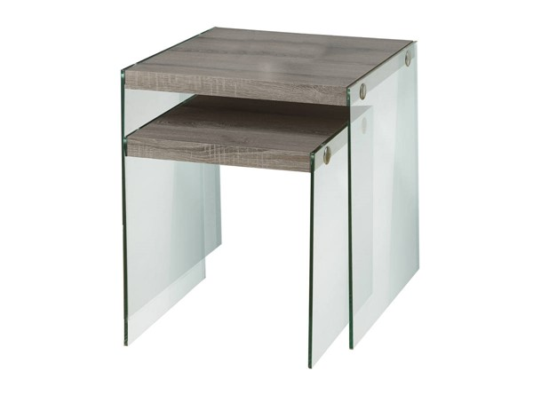 Monarch Specialties Taupe Clear Glass 2pc Nesting Table MNC-I-3053