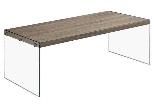 Monarch Specialties Taupe Wood Clear Glass Coffee Table MNC-I-3054