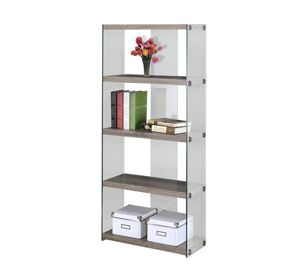 Monarch Specialties Taupe Wood Glass Bookcase MNC-I-3060