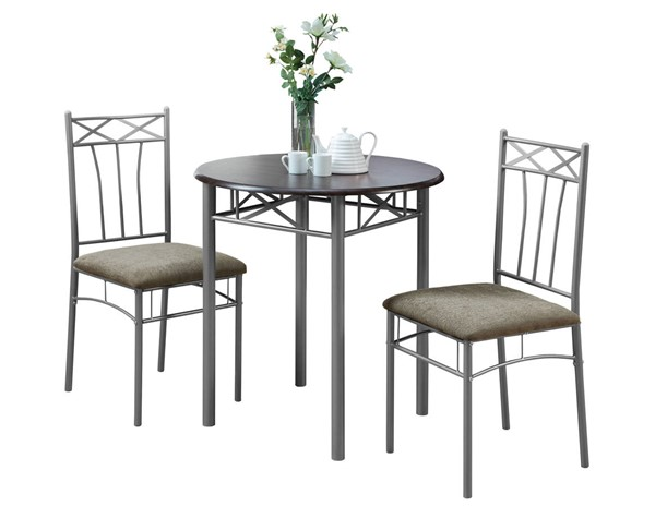 Monarch Specialties Cappuccino Silver Microfiber 3pc Dining Set MNC-I-3075