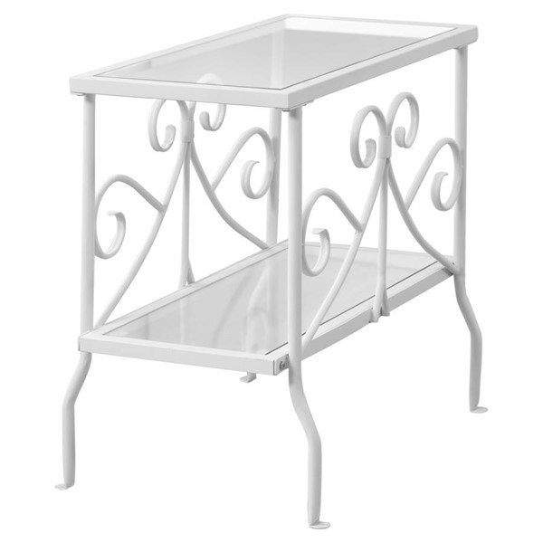 Monarch Specialties White Clear Glass Accent End Table MNC-I-3105