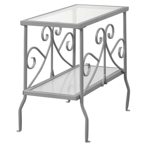 Monarch Specialties Silver Clear Glass Accent End Table MNC-I-3106