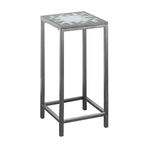 Monarch Specialties Grey Blue Metal Accent End Table MNC-I-3145