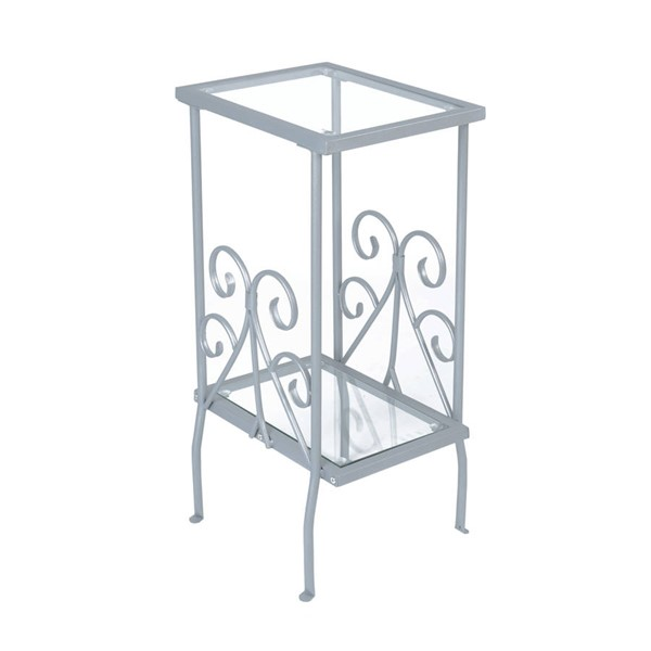 Monarch Specialties Silver Clear Glass Accent Table MNC-I-3158