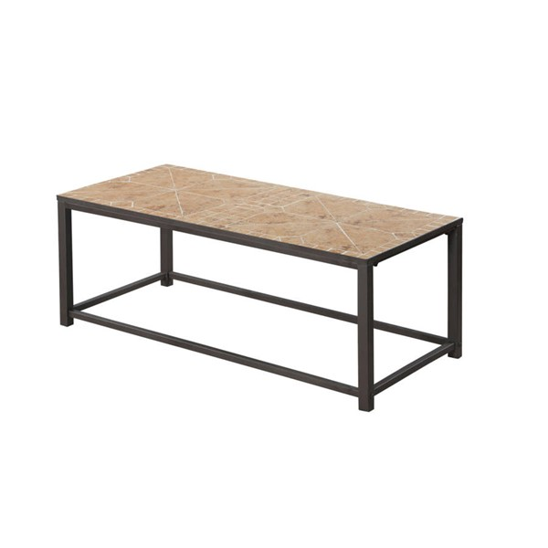 Monarch Specialties Brown Metal Tile Coffee Table MNC-I-3160