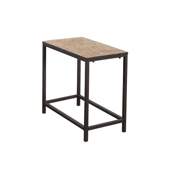 Monarch Specialties Brown Metal Tile Accent End Table MNC-I-3163