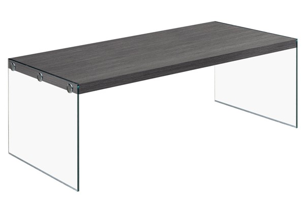 Monarch Specialties Grey Wood Clear Glass Coffee Table MNC-I-3220