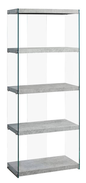 Monarch Specialties Grey Clear Glass Tall Bookcase MNC-I-3233