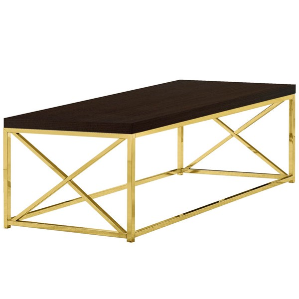 Monarch Specialties Cappuccino Gold Coffee Table MNC-I-3238