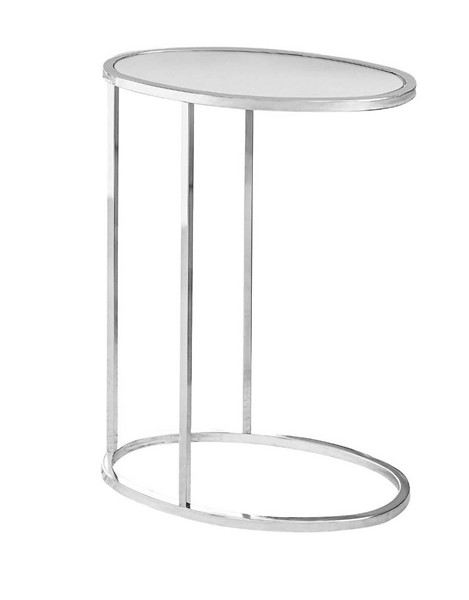 Monarch Specialties Chrome Metal Oval Accent Snack Table MNC-I-3245