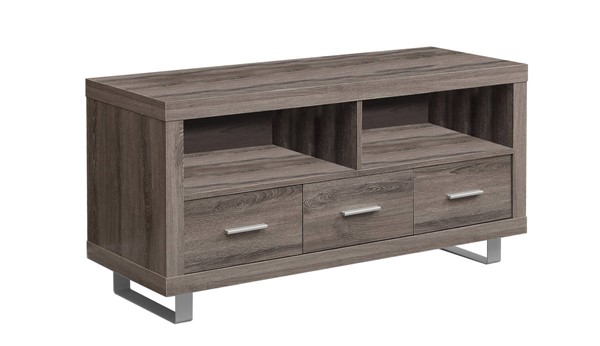 Monarch Specialties Taupe MDF Silver Metal TV Stand MNC-I-3250