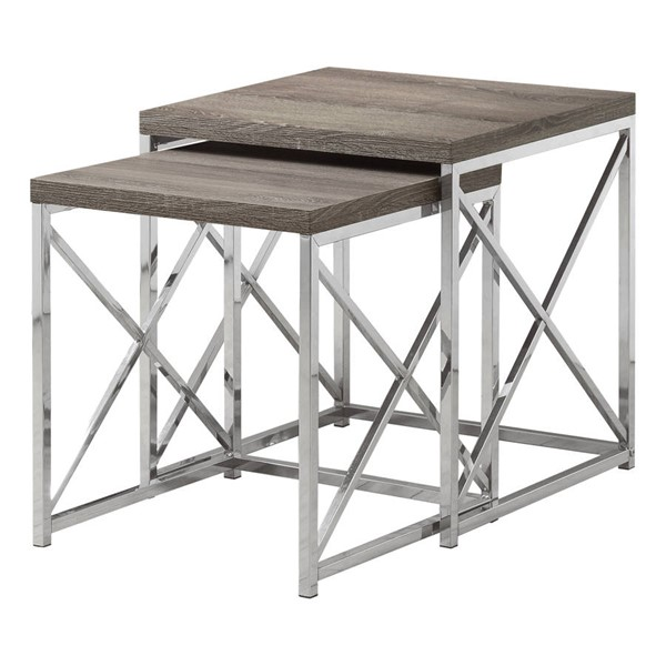 Monarch Specialties Taupe Wood Metal 2pc Nesting Table MNC-I-3255