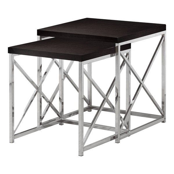 Monarch Specialties Cappuccino Wood Metal 2pc Nesting Table MNC-I-3271