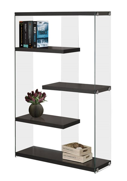 Monarch Specialties Cappuccino Clear Glass Bookcase MNC-I-3284