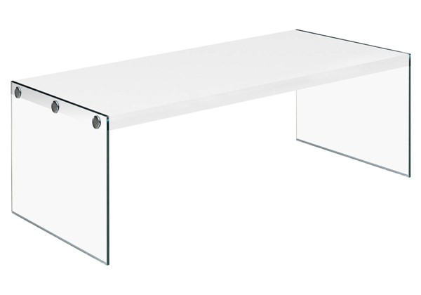 Monarch Specialties White Wood Clear Glass Coffee Table MNC-I-3286