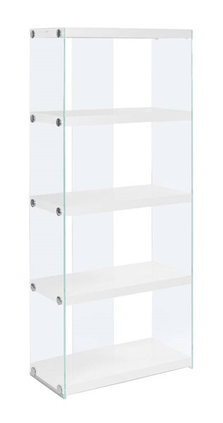 Monarch Specialties White Wood Glass Bookcase MNC-I-3289