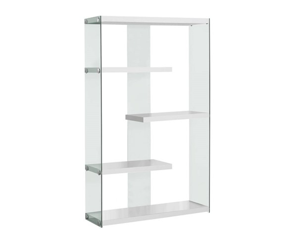 Monarch Specialties White Clear Glass Bookcase MNC-I-3290