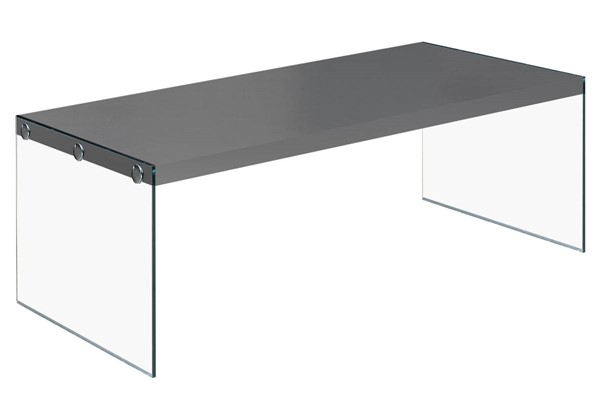 Monarch Specialties Glossy Grey Wood Clear Glass Coffee Table MNC-I-3292