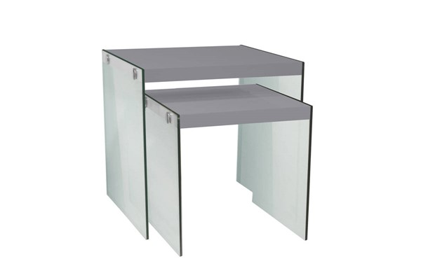 Monarch Specialties Glossy Grey Clear Glass 2pc Nesting Table