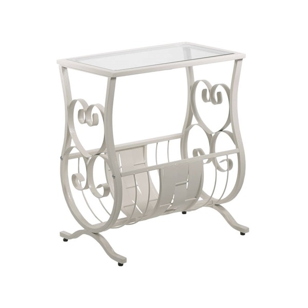 Monarch Specialties White Clear Glass End Table MNC-I-3312