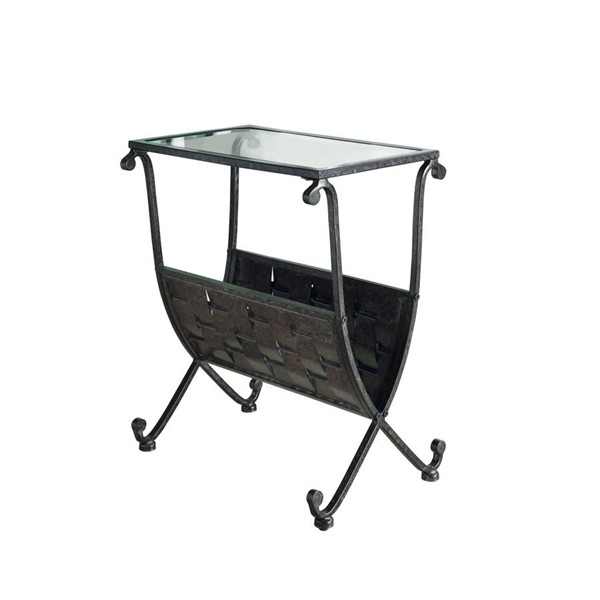 Monarch Specialties Black Clear Taupe Accent End Table MNC-I-3313