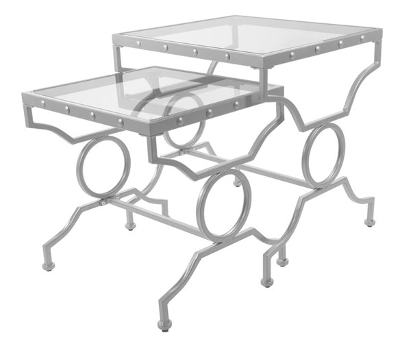 Monarch Specialties Silver Clear Rectangle 2pc Nesting Table MNC-I-3321